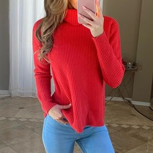 J Crew Wool Cashmere Red Chunky Turtleneck Sweater
